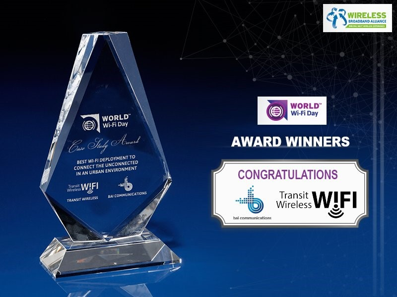 "Transit Wireless Wins ""Best Wi-Fi Deployment to Connect the Unconnected in an Urban Environment"" Award from Wireless Broadband Alliance"